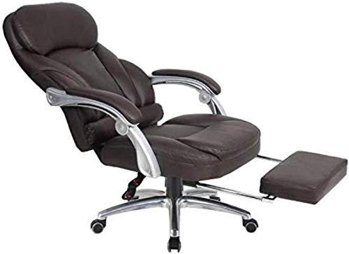 Silla giratoria de oficina, silla de juegos, silla de escritorio, silla de ordenador ejecutiva, respaldo alto 150°, silla inclinable (color: marrón)