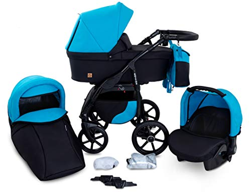 Boston GaGaDumi 3in1 Kombi - Kinderwagen Liegewanne Buggy Autositz Carlo (B3-The azure cost)