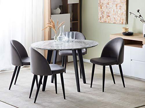Beliani Minimalist Dinner Dining Kitchen Table Marble Effect Black Metal Legs Round 110 cm Mosby