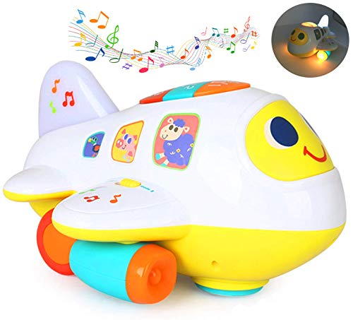 Zenteck Musical Bump 'N Go Airplane Toy | BPA-Free, No Sharp Edges | Lights, Music, & Sounds | Premium Quality, Educational & Fun | Battery Operated Gift Toy for Kids, 1 2 3 Years Old Boys Girls