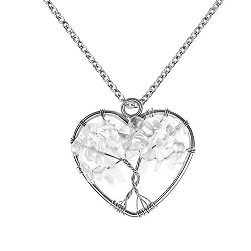 YSAHan Tree of Life Pendant White Crystal Gemstone Chakra Jewelry Heart Pendant Stainless Steel Necklaces