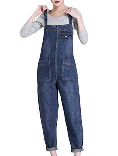 MatchLife Damen Breite Beine Hosen Loose Denim Jeans Jumpsuit Latzhose Overalls (Fits Größe 42-48, Style19-Dunkelblau)