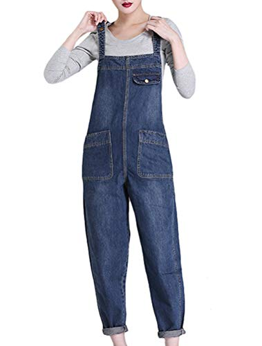 MatchLife Damen Breite Beine Hosen Loose Denim Jeans Jumpsuit Latzhose Overalls (Fits Größe 38-44, Style19-Dunkelblau)