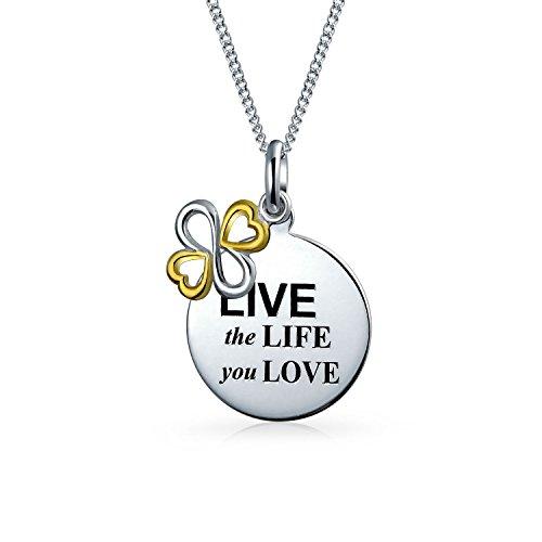 Personalizado en vivo la vida que amas disco BFF inspirador colgante collar dos tonos 925 plata esterlina personalizada grabada