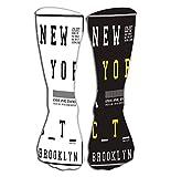 GHEDPO - Calcetines hasta la rodilla para mujer, 50 cm, diseño de New York, color negro, amarillo y blanco