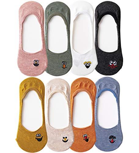 8 pares Calcetines de mujer sin espectáculo, Calcetines de algodón invisibles de corte bajo Antideslizante, Emoji bordado casual Calcetín para niñas adolescentes