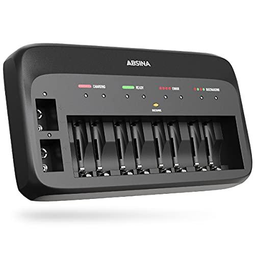 ABSINA Cargador de batería X10 para AA, AAA y 9 V, cargador de batería con 10 compartimentos para cargar baterías recargables - NiMH Cargador para pilas Micro AAA, Mignon AA y 9 V
