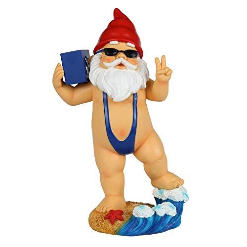 The Cheeky Gnome Co. Lustiger Gartenzwerg mit Bier und Mankini, lustiger 22,9 cm hoher Rasenzwerg Statue, Gartendekoration, lustiger Gartenzwerg für den Außenbereich