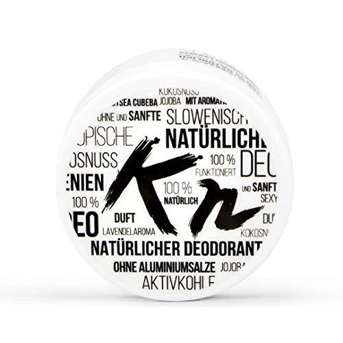 Desodorante con carbón activado - Bálsamo 100% natural para las axilas con aceite de coco, desodorante vegano y sin aluminio para mujeres y hombres para pieles sensibles (50ml)