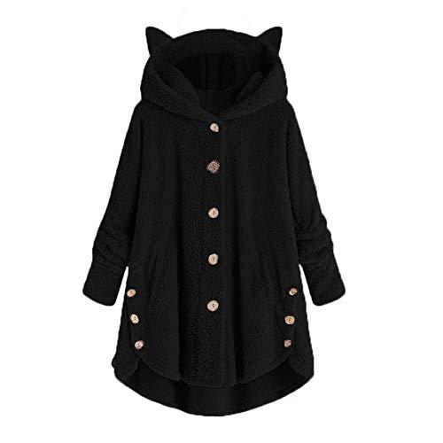 FRAUIT-Frauen Jacken Mantel Damen kapuzenjacke oversize-mantel-winter hoodie locker pullover lange größen cardigan hood fleece plüsch groß u-schwarz