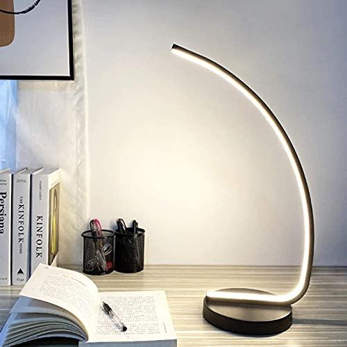 Lámpara de mesita de Noche ARC Lámpara de Mesa LED Regulable, Lámparas de Mesa de Dormitorio Negras Modernas Curvas de 22W con Control Remoto, Temperatura de 3 Colores, Cable de 1.5 M, fo