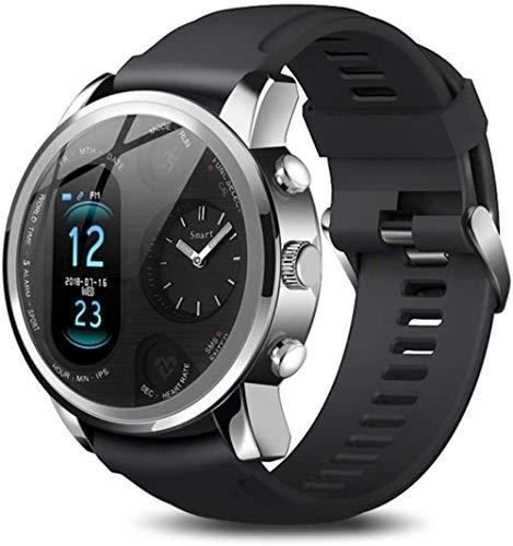 Smart Watch Dual Time Zone Sport Reloj inteligente para hombre, impermeable, frecuencia cardíaca, Bluetooth, rastreador de actividad, para iOS Android B