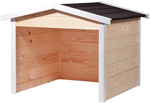 dobar, 87x80x70cm 56198e Mähroboter-Garage aus Holz, Rasenroboter-Carport, 87x80x70 cm, Beige/natur-weiß-anthrazit