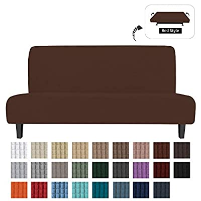 Easy-Going Stretch Sofa Slipcover Armless Sofa Cover Furniture Protector Without Armrests Slipcover Soft with Elastic Bottom for Kids, Spandex Jacquard Fabric Small Checks(futon,Coffee)