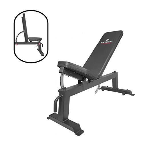 Titan Fitness Adjustable Flat Incline Weight Bench for Free Weights & Dumbbells