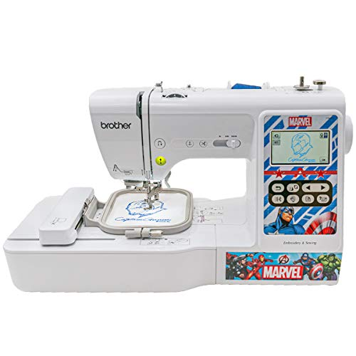 "Brother Sewing and Embroidery Machine, 4 Marvel Faceplates, 10 Downloadable Marvel Designs, 80 Designs, 103 Built-In Stitches, 4"" x 4"" Hoop Area, 3.2"" LCD Touchscreen Display, 7 Included Feet"
