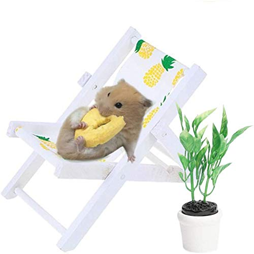 MUMAX Silla de playa para hámster con plantas verdes, accesorios de decoración de fotos, juguetes