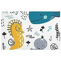 カーペット ドアマット 鯨 クジラ ホットカーペット 玄関マット バスマット 台所マット カーペットラグマット 足ふきマット 泥落としマット 滑り止めマット吸水 洗える 速乾 耐磨 絨毯 家庭用 屋内 屋外 40cm*60cm