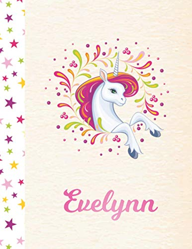 Evelynn: Unicorn Personalized Custom K-2 Primary Handwriting Pink Blank Practice Paper for Girls, 8.5 x 11, Mid-Line Dashed Learn to Write Writing Pages