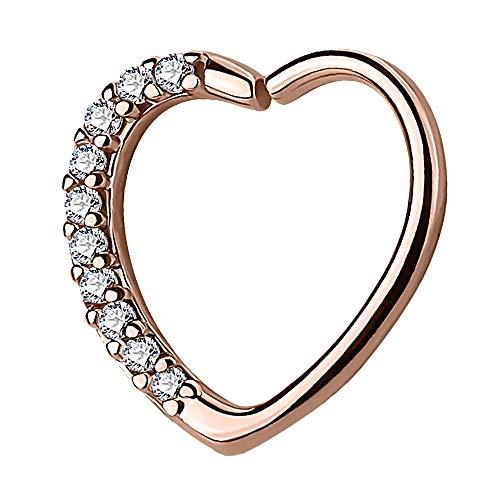 Piercingfaktor Continuous Piercing Ring Herz mit Kristall Strass Herzchen für Tragus Helix Ohr Cartilage Knorpel Ohrpiercing Rosegold Rechts
