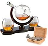 Etched World Decanter Whiskey Globe - Antique Airplane The Wine Savant 850ml, Whiskey Stones and 3 World Map 10 oz Glasses, Pilot Gift