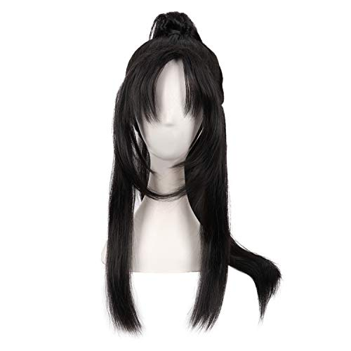 MapofBeauty Cosplay Oblique Bangs Long Gripper Ponytail Ancient Style Hair Wig (Black)