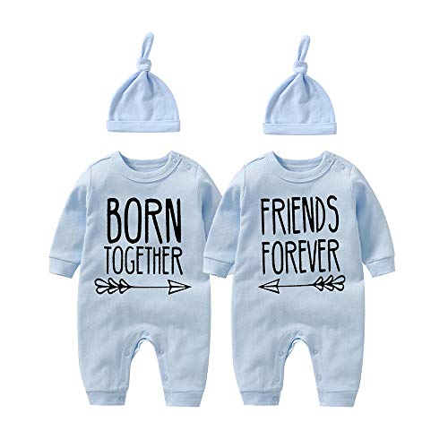 YSCULBUTOL Baby twins bodysuit with hat Born together friend forever baby boy clothes Toddler girl clothes Baby shower (Blue Bbfbodysuit, 0-3 Months)