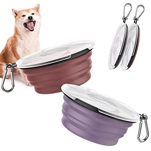 Pawaboo Faltbar Hundenapf, 2 Stück Hund Reisenäpfe Tragbar Silikon Auslaufsicher Trinknapf Fressnapf mit Deckel und Karabiner für Hunde Katzen Spaziergänge Unterwegs - Violett + Ziegelrot