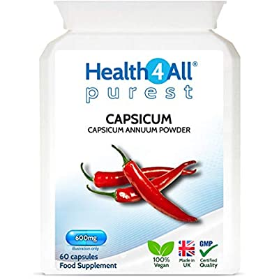 Capsicum 600mg 60 Capsules (V) . Purest: no additives. High Strength Capsaicin with Anti-inflammatory and Fat Burning Properties. Vegan. Made in The UK by Health4All