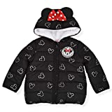 Disney Girl's Minnie Mouse Print Hooded Puffer Jacket with Ears and Red Bow, Black, Size 5