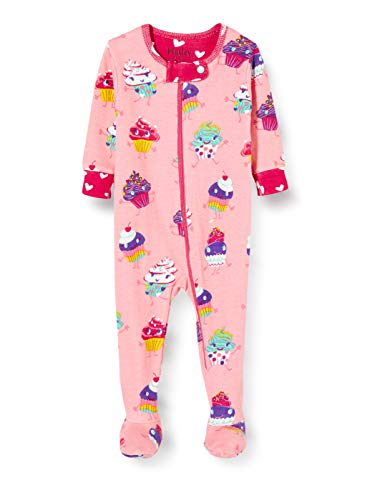 Hatley Organic Cotton Footed Sleepsuits Pyjama, Rose (Dancing Cupcakes 650), 6 Mois Bébé Fille
