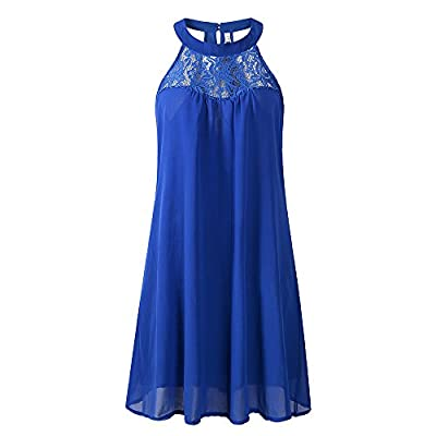 ZENboo Women's Chiffon Sleeveless Short Dress Lace Patchwork Loose Casual Mini Tank Dress 2018 Summer