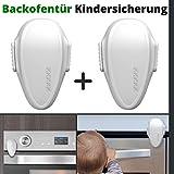 Backofentür Kindersicherung, 2er Set Ofentür Sperre zum Kleben, Doppel-Druck-Knopf, spezieller hitze-resistenter Kleber, universal verwendbar auf glatten Oberflächen, Rückstand-los...