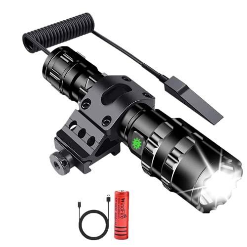 Linterna de caza táctica de 100000 lúmenes Luz de caza súper brillante con montaje en riel, 5 modos Baterías recargables USB Interruptor de presión remoto Linternas LED para caza Camping