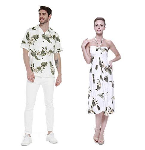 Hawaii Hangover Pareja Juego Hawaiano Luau Fiesta Traje Conjunto Camisa Vestido en Palma Verde Hombres L Mujer 2XL