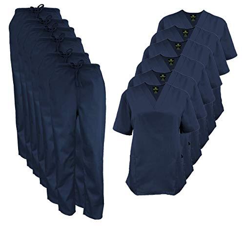 Natural Uniforms Women's Scrub Set Medical Scrub Tops and Pants - Pack of 6 Set (XX-Large, Dark Navy Blue)