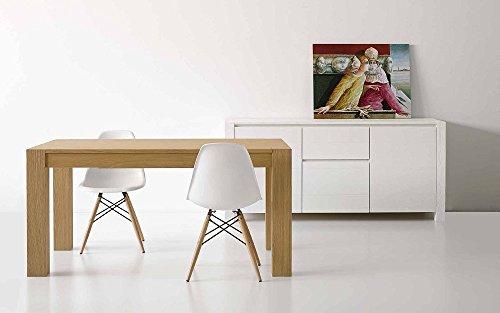 InHouse srls Table en chêne Naturel brossé comportant 2 rallonges DE 40 cm, Style Moderne - Dim. 140 x 90 x 77