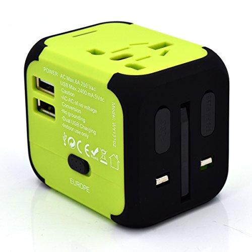 Welly Enjoy WY13102 Universeller Reiseadapter mit Doppel-USB-Anschluss aus 150 Ländern weltweit EU Fusion AU Ladegerät Schwarz/Grün