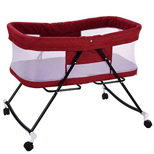 GAOYUE Multifunktions-Babybetten Newbaby Stubenwagen Tragbares Bett Infant Travel Sleeper Tragbares Kinderbett Atmungsaktive Klappbetten, Rot