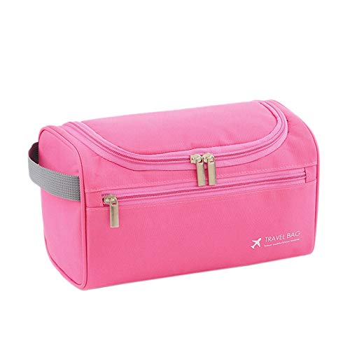 Fransande Waterproof Hanging Cosmetic Bag Men's Business Storage Bag Ladies Cosmetic Organizer Travel Wash Bath Kit(Rose Red)