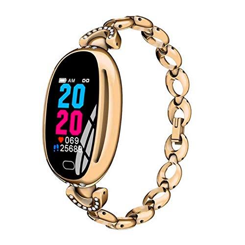 Veotopia - Reloj Inteligente para Mujer con Monitor de presión Arterial, podómetro, Impermeable, Pulsera de Actividad y Bluetooth, Dorado