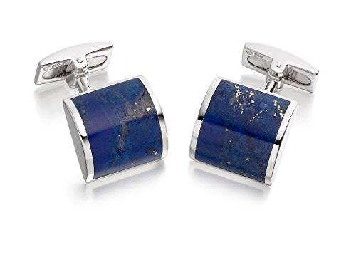 Hoxton London Herren Schmuck Sterling Silber und Lapis Lazuli Manschettenknöpfe, quadratisch