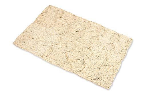 NaDeco Strohteppich 180cm x 270cm mit 4 Karos Naturteppich Naturfaserteppich Strohteppich aus Maisstroh Maisstrohteppich Stroh Teppich Maisstroh Teppich Naturteppich