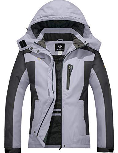 GEMYSE wasserdichte Berg-Skijacke für Frauen Winddichte Fleece Outdoor-Winterjacke mit Kapuze (Grau schwarz,XL)
