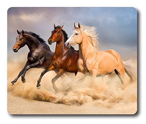 Ice Rabbit Mouse Pad Group of Horse Run Gallop in Sand Non-Slip Rubber Computer Mousepad