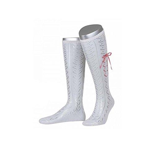 ALMBOCK Dirndlstrümpfe Damen - weiße Trachtensocken - Strümpfe mit Schleife in rot weiß kariert