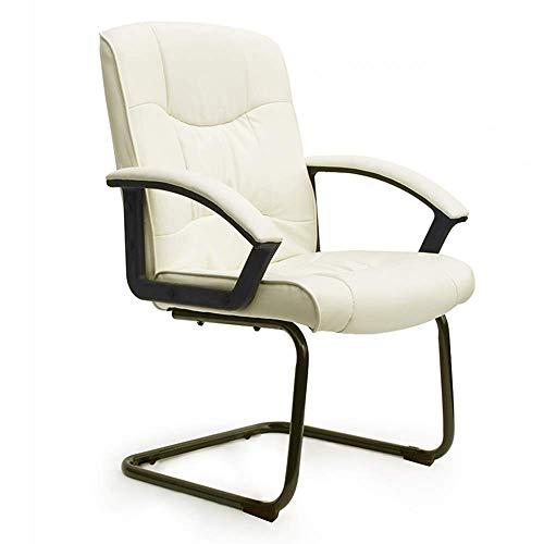 JIEER-C slaapkamer bureaustoel ergonomisch design PU-leer bekleding bureaustoel vaste armleuning hometraining stalen poten opslaggewicht 150 kg (kleur: beige) beige