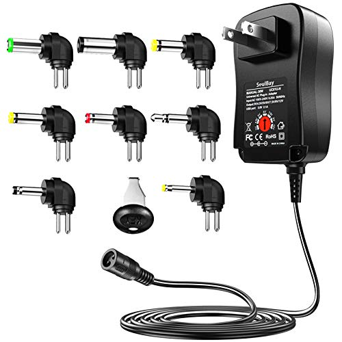 [Inner Negative] SoulBay 3V 4.5V 5V 6V 7.5V 9V 12V Multi Voltage AC/DC Adapter Switching Replacement Power Supply with 8 Plugs for Tip Negative Effects Pedals Keyboards - 2A Max
