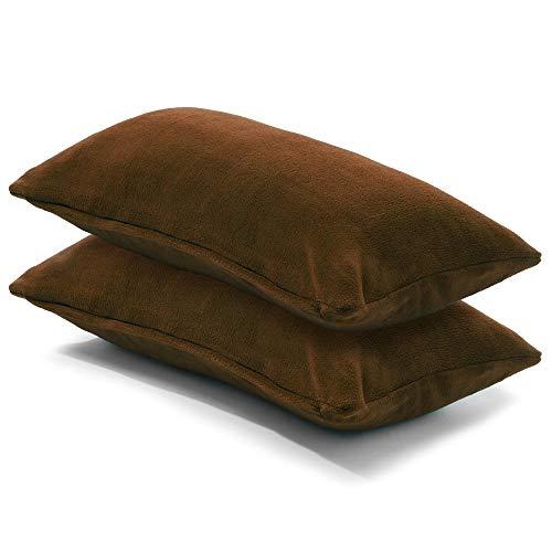 CelinaTex 2er Set Kissenbezug 40x80 cm Doppelpack Coral Fleece Kissenhülle, Kopfkissenbezug Kissen Überzug Comfortable braun 5001335