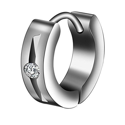 Filfeel Mens Earrings, 1Pair/Set Unisex Couple Ear Titanium Steel Earrings Loop Hoops with Zircon Decoration